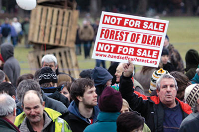 Hands Off Our Forests rally in the Forest of Dean on 3 January. Over 3,000 protesters braved freezing conditions and snow (credit: Forest of Dean and Wye valley Review)