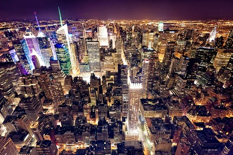 Nighttime aerial view of New York (credit: Dreamstime.com)