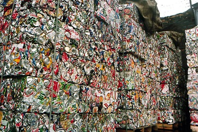 Stacked cans for recycling, Alupro