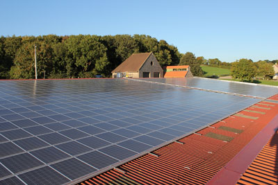 Solar panels at Worthy Farm, home of Glastonbury. Credit: Solarsense