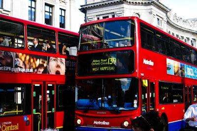 London buses. Credit: Alex Faundez, cca2a, wikimedia