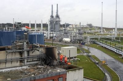 Aftermath of the explosion at the Bacton site. Credit: Health and Safety Executive