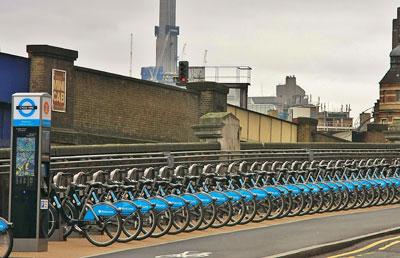 Barclay's cycle hire scheme, Waterloo station. CCA-SA2