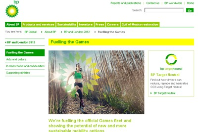 A BP advertising campaign says it is fuelling the official Olympic Games fleet