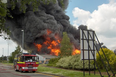 The fire at the Gateway Industrial Estate at Crewe spread over more than 10,000 square metres (picture: HSE)