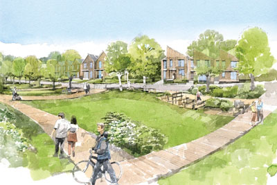 Artist's impression of Bicester ecotown