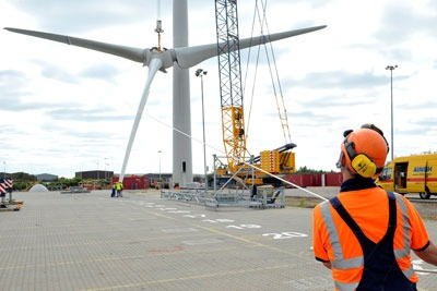 Construction of the UK's latest onshore wind turbine at Ford's Dagenham plant in Essex. Planning reforms may not help such projects (photo: Ecotricity)