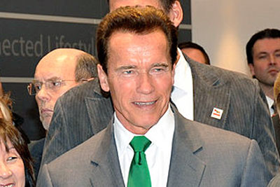 Former governor of California Arnold Schwarzenegger championed the state's global warming solutions law (photo: Sterling Communications CC-BY-2.0 via Wikimedia Commons)