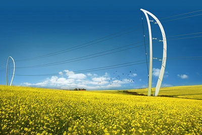 Plexus by AL_A and Arup, one of the finalists in the 'Pylon for the future' design competition (photo: DECC)