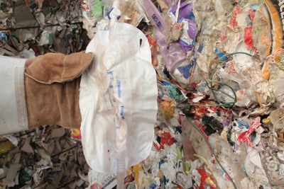 A waste shipment described as containing paper also included rotting food, nappies, plastics and textiles (photo: Environment Agency)