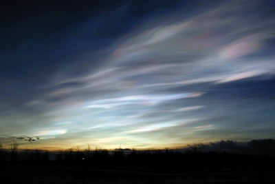 Polar stratospheric clouds, Arctic (picture: Lamont Poole, NASA Langley Research Center)