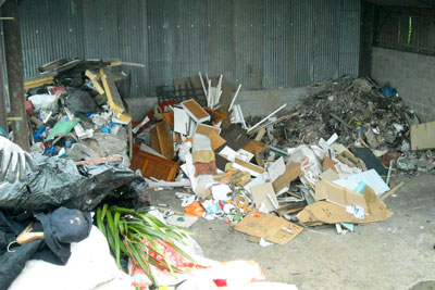 Wood, plastic, metal, cables, bricks, breezeblocks, concrete and soil were being stored at Hillside Farm in Chesterfield (photo: Environment Agency)
