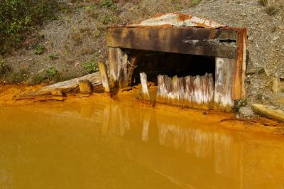 The discharge from the Cwm Rheidol mine (Environment Agency)