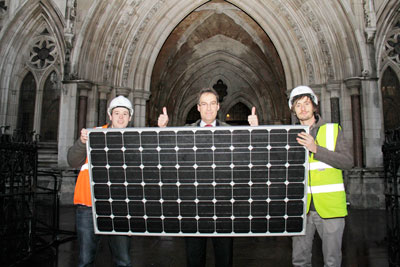 Friends of the Earth's director Andy Atkins celebrates feed-in tariff ruling (photo: Friends of the Earth)