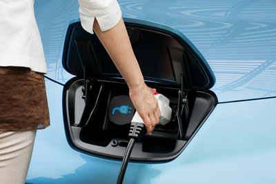 Nissan Leaf electric vehicle being charged