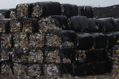 Bundles of refuse derived fuel at a facility similar to RDF's tip