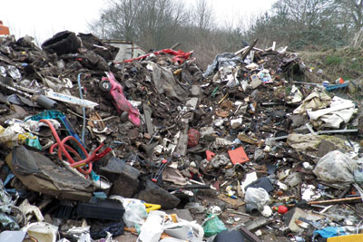 Richard Vernon illegally stores waste at a site in Westbury, Northamptonshire (photo: Environment Agency)