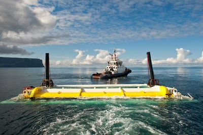 Aquamarine Power's 800kW Oyster device consists of a near-shore steel flap moved by waves (photo: Aquamarine Power)