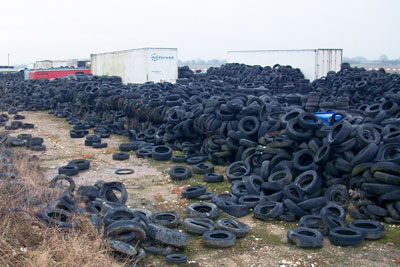 Tyres dumped at Tockwith airfield (photo: Environment Agency)