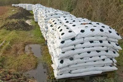 Bags of peat, near North Petherton, Ireland (photograph: Derek Harper, CC-by-SA-2.0)