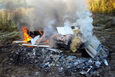McMaster dumped and burned tonnes of building waste (photgraph: South Hames Disctrict Council)