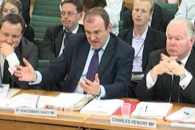 Energy minister Ed Davey speaking before the House of Commons Climate Change Committee (photograph: Parliamentary TV)