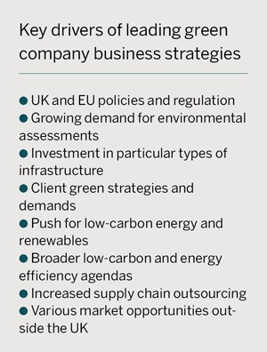 Key drivers of leading green company business strategies