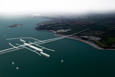 A new proposed 'low impact' Severn Barrage would extend 18km from Brean in England to Lavernock Point in Wales (image: Marks Barfield)