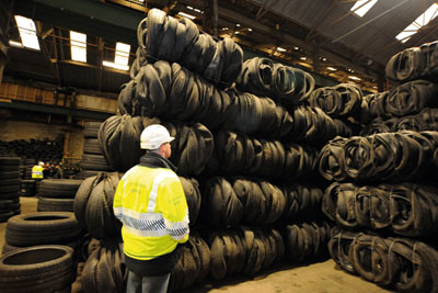Illegally stored tyres. Credit: Environment Agency