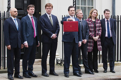 Budget 2013: Chancellor George Osborne (centre) included support to shale gas in his spending plans for the coming year (photograph: Paul Marriott/Alamy)