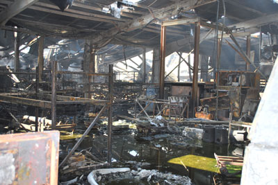 Abbey Metals' factory after the fire. Credit: Environment Agency