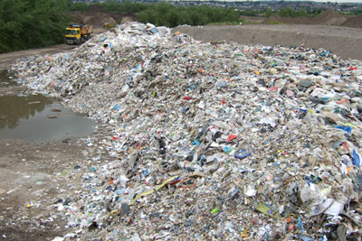 The illegal waste site was on a site of special scientific interest (photograph courtesy of : Natural Resources Wales)