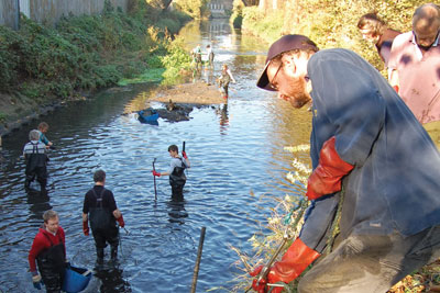 River clean-up (credit: National Council of Voluntary Organisations)