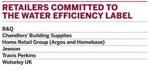 Retailers committed to using the water efficiency label