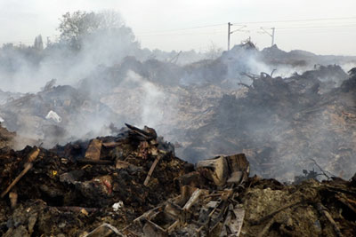 Investigations found copper, lead and zinc levels in the bonfire's ash were significantly higher than the background soil levels for England and Wales (photograph: Environment Agency)