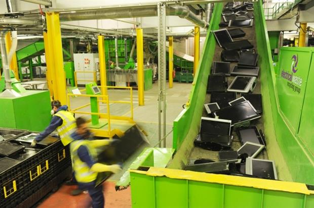 The plant mechanically recycles LCD screens of any size (credit: Electrical Waste Recycling Group)