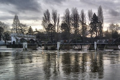 Teddington Lock on the river Thames: water flows have been about four times the average (photograph: Simon Evans)