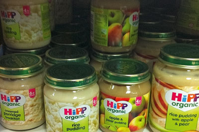 Hipp baby food jars. Credit: Isabella Kaminski