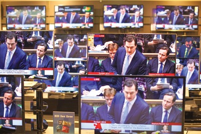 Chancellor George Osbourne delivering the Budget. Credit: Jeff Gilbert/Alamy