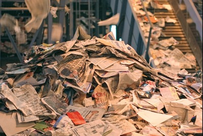 Waste paper being recycled. Credit: Sita