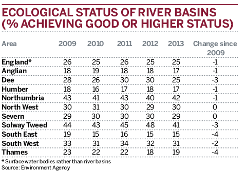 Table: Ecological status of river basins