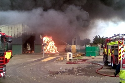 Think Environmental suffered two serious fire incidents at its Northamptonshire bio-drying centre (photograph: Environment Agency)
