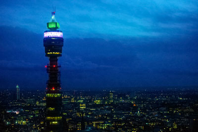 BT tower, London: the teleco company sources 100% of the energy for its UK sites from renewable sources (photograph: BT)