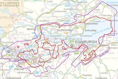 Prospective areas in Scotland for shale gas. Credit: British Geological Survey