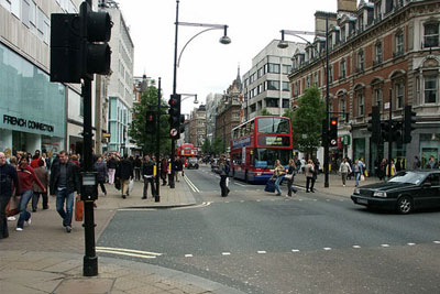 NO2 levels 11 times higher than the EU's safe limit were recorded on London's busy Oxford Street (photograph: Olivier Bruchez/CC by SA 2.0)