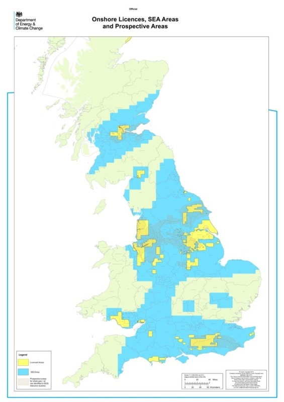 Map: Onshore licences, SEA areas and prospective areas (source: DECC)