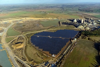Lark Energy's Ketton quarry solar farm in Leicestershire (photograph: Lark Energy)