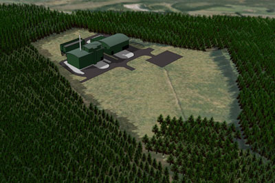 Artist's impression of Speyside biomass combined heat and power plant