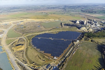 Hanson has installed an 8 megawatt solar farm at Ketton cement works to help reduce its footprint (credit: Hanson)