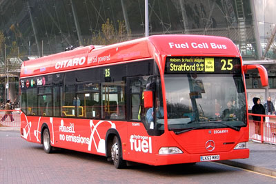 There are currently eight hydrogen fuel cell electric buses operating in London